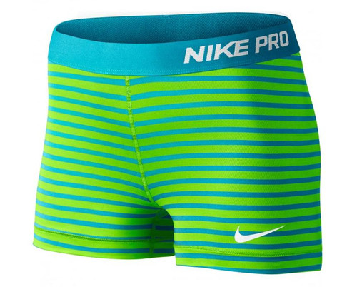 Nike Wmns Pro 3 Stripe Short - Green/Blue