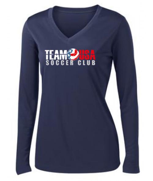 Team USA Women's LS Practice Tee- Navy