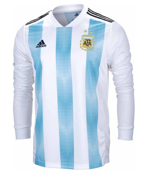 Adidas Argentina Home Long Sleeve Jersey 2018-19 - White/Clear Blue/Black (6318)