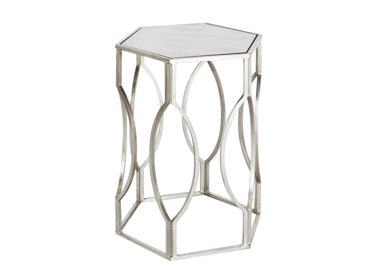 Hexagonal Antique Silver Side Table