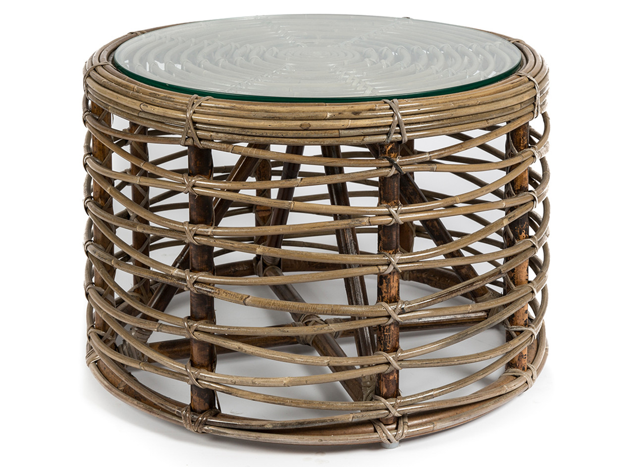 Natural Rattan Round Coffee Table With Glass