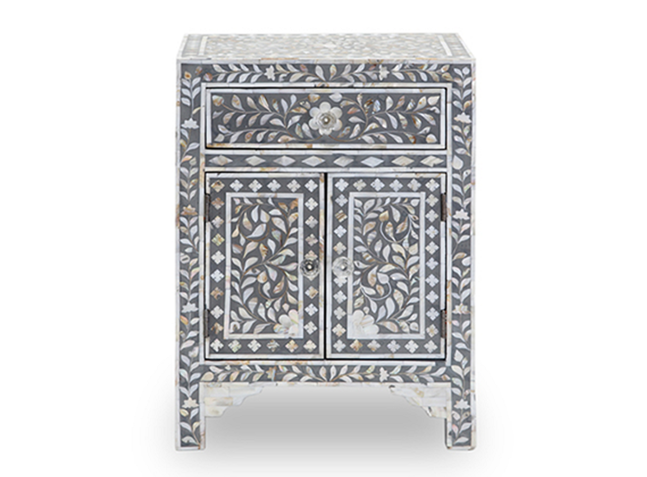 Exceptionnel Mother Of Pearl Inlay Bedside Cabinet In Grey