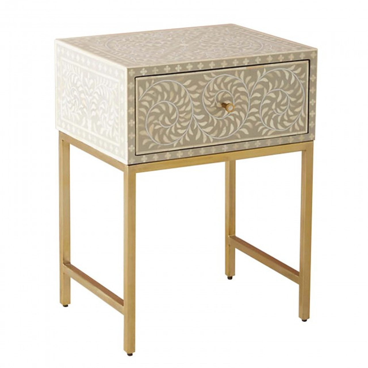 Exceptionnel Bone Inlay Bedside Table With Brass Legs
