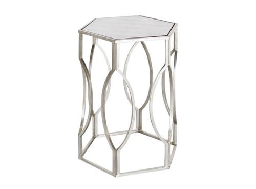 Bon Hexagonal Antique Silver Side Table