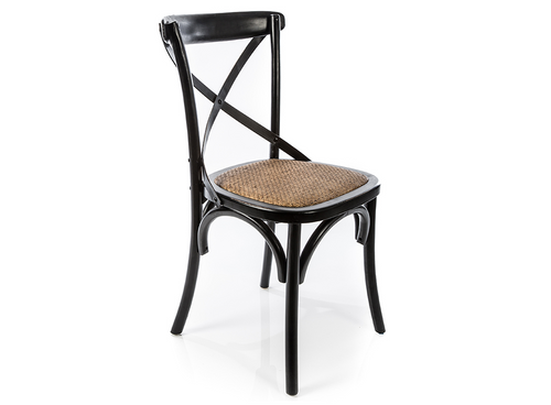 Distressed Black X Back Chair With Solid Rattan Seat