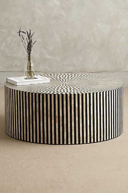 Superieur Bone Inlay Round Coffee Table In Stripe Black