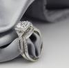 1.70CTW 1.10CT Center Cushion Cut NSCD Simulated Diamond Wedding Halo Engagement Ring