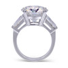 The Luna Ring Series - Eternal Moissanite 8CT Round Brilliant Cut Center With Baguette Sides Engagement Ring - VIDEO BELOW