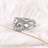 The Erica Ring Series - Eternal Moissanite 4CT Round Brilliant Cut Center Open Shank With Moissy Accents!  VIDEO BELOW!