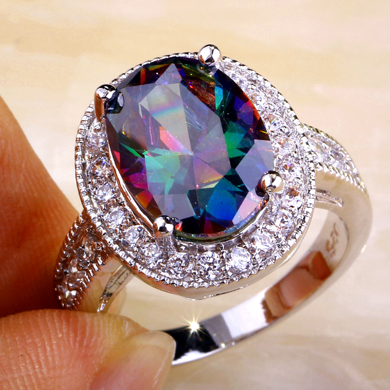 real genuine rainbow engagement solitaire promise rings somgsdj ring mystic diamond topaz popular wedding
