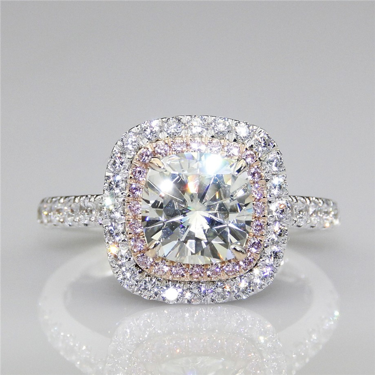 pave cushion gold pre brilliant v prong in a engagement halo diamond split rings wb enr ring platinum cathedral set white