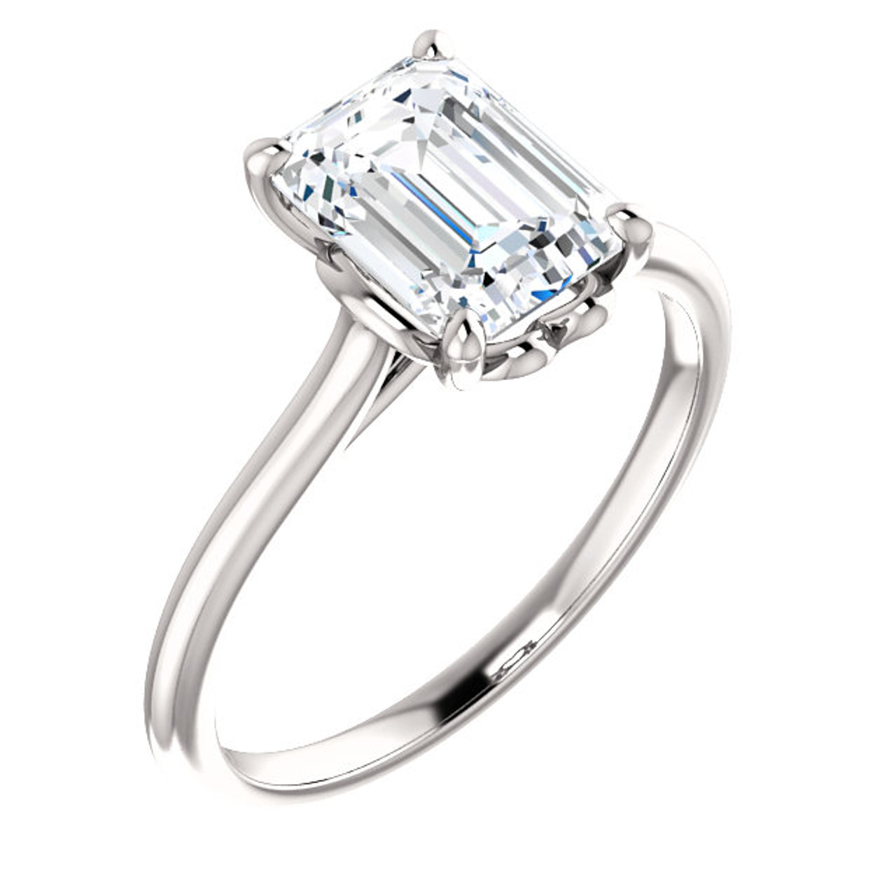 The Holly Ring Series   Eternal Moissanite 1.75 Emerald Cut Engagement Ring