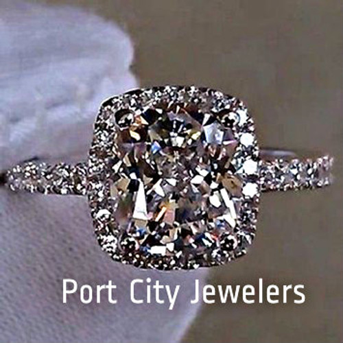 3CTTW 2CT Center NSCD Cushion Cut Simulated Diamond Engagement Ring with Halo