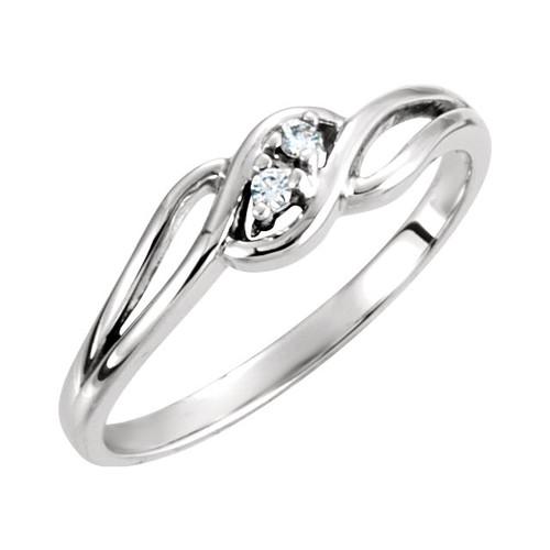 Ladies Sterling Silver Genuine Diamond Promise Love Couples Riing