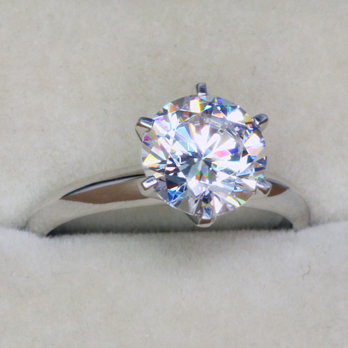 NSCD Simulated Diamond 1CT Solitaire 6 Prong Engagement Wedding Ring