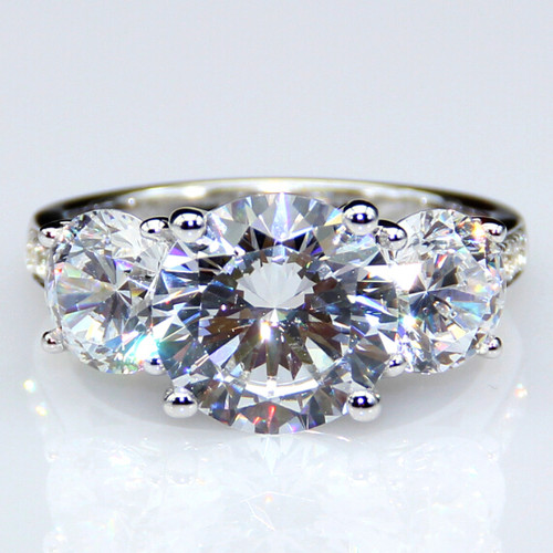 NSCD Simulated 3CTTW 3 Stone Anniversary Wedding Engagement Ring