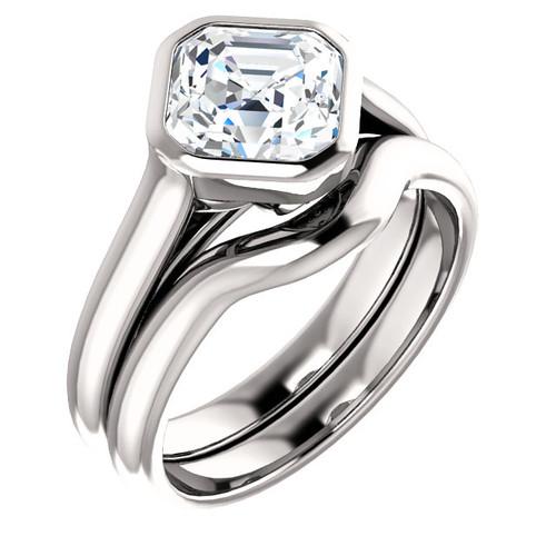 Moissanite Antique Cut Custom Made Bezel Set Engagement Wedding Ring