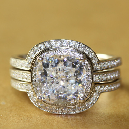 NSCD Simulated Diamond 4.38CTTW 3CT Center Cushion Cut Wedding Engagement Bridal Set with 2 Form Fit Bands