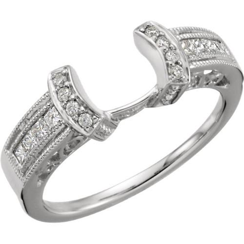 14K White Gold 1/4CT Round Diamond Filigree Wrap