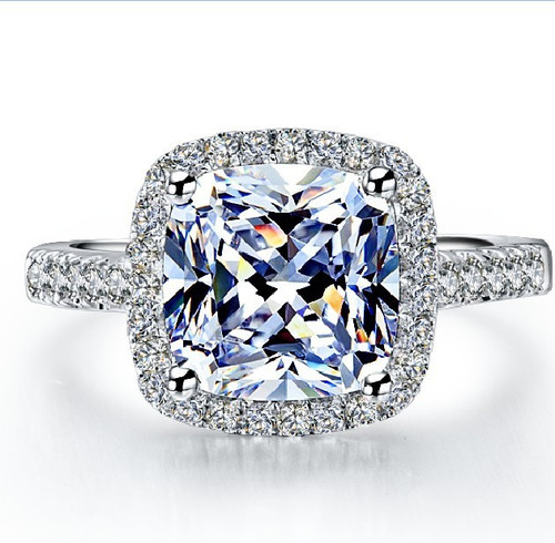 14K White Gold 3.5CTTW 3CT Center Cushion Cut NSCD SONA Simulated Diamond Wedding Engagement Ring
