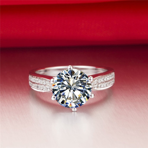 14K White Gold 2.5CTTW 2CT Center Round Brilliant Cut NSCD Simulated Diamond Wedding Engagement Ring