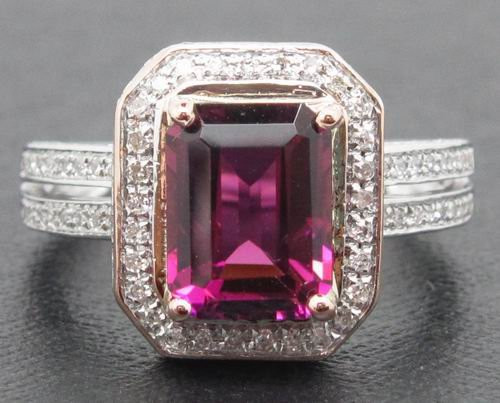 14K White Gold Pink Tourmaline Emerald Cut & Diamond Halo Ring