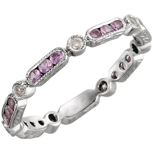14K White Gold Pink Sapphire & Diamond 1/10CTW Diamond Eternity Band Size 6