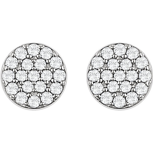 14kt White 1/3 CTW Diamond Cluster Earrings