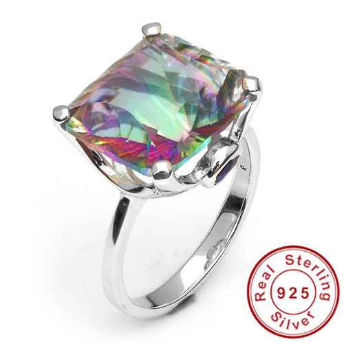 .925 Sterling Silver Mystic Topaz 10.3CTW Cushion Cut Ring!  WOW