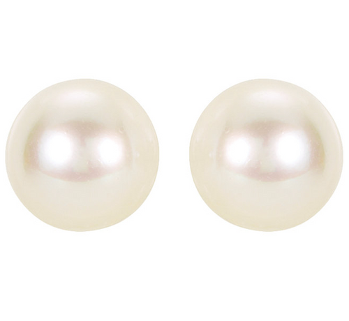 14K White Gold 7mm Akoya White Cultured AA Pearl Stud Earrings