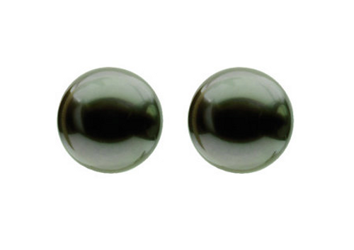 14K White Gold 10mm Grey/Black Tahitian Akoya Cultured Pearl Stud Earrings