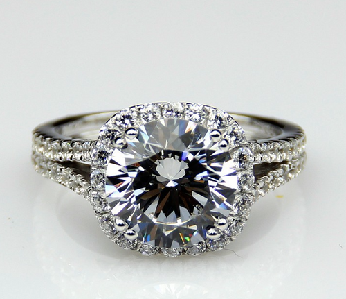 NSCD Simulated 3CT Center Round Brilliant Cut Halo Split Shank Engagement Wedding Ring