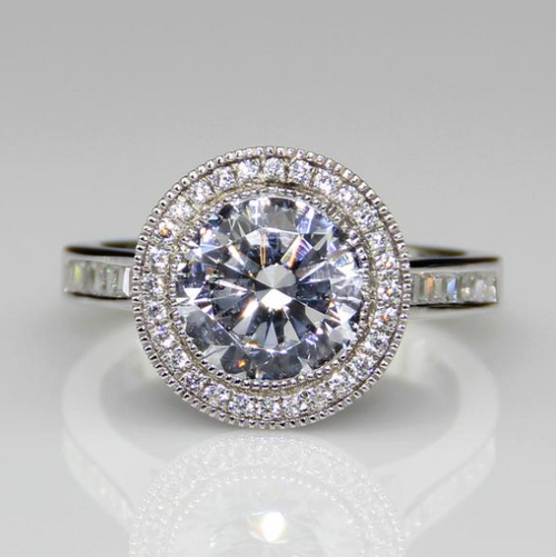 3.10CTW 2.5CT Center ROUND Brilliant NSCD Simulated Diamond Halo Wedding Engagement Ring - VIDEO BELOW!