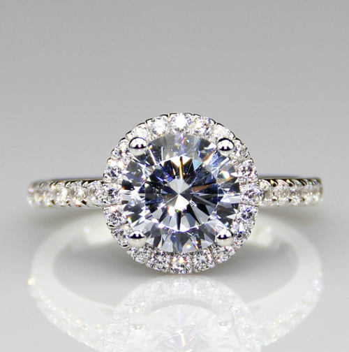 2.5CTW 2CT Center Round Cut NSCD Simulated Diamond Wedding Halo Engagement Ring
