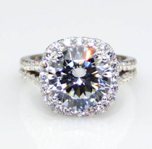 4.75CTW 4.25CT Center Round Cut NSCD Simulated Diamond Wedding Halo Engagement Ring