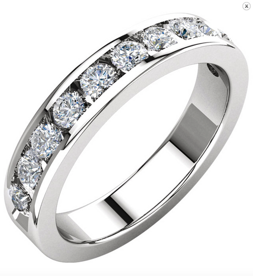 14K White or Yellow Gold 1CTTW Round Cut Diamond Channel Set Wedding Band
