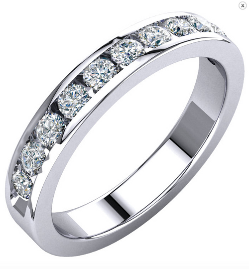 14K White or Yellow Gold 1/2CTTW Round Cut Diamond Channel Set Wedding Band