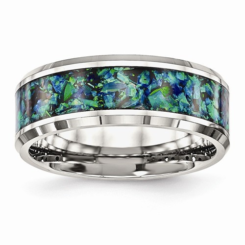 8mm Mens Stainless Steel Imitation Opal Inlay Wedding Band!