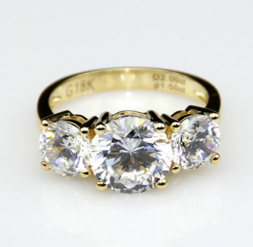 3CTTW 2CT Center NSCD Simulated Diamond Round Brilliant Cut 3 Stone Anniversary Engagement Ring 18K Yellow Gold