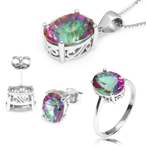 """Sterling Silver Mystic Topaz Oval Cut 3 Piece Set - Ring, Pendant & Earring Set - 18"""" Chain"""