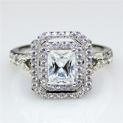 2.5CTTW 1.5CT Center NSCD Simulated Emerald Cut Diamond Double Halo Split Shank Engagement Wedding RIng
