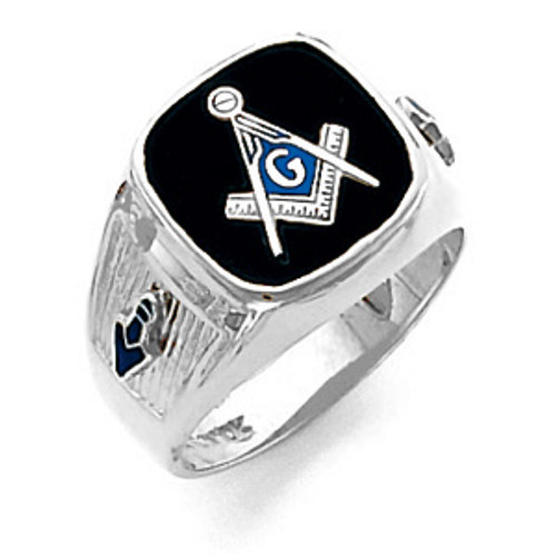 14K White Gold Master Mason Masonic Harvey & Otis Blue Lodge Ring with Wide Shank
