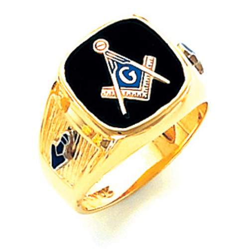 14K Yellow Gold Master Mason Masonic Harvey & Otis Blue Lodge Ring with Wide Shank