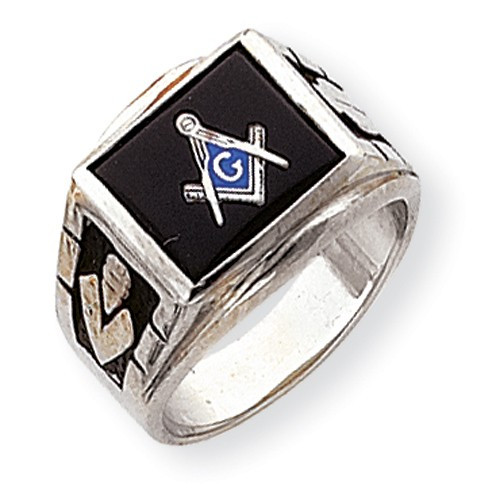 14K White Gold Men's Master Mason Ring w/ Black Onyx Stone (Solid Back)