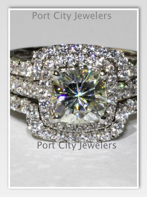 14K White Gold NSCD Simulated Diamond 4CTTW 3CT Center Cushion Cut Engagement Wedding Ring Set
