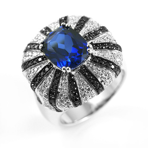 Sterling Silver .925 Created Blue Oval Sapphire & Spinel Gemstone Ring