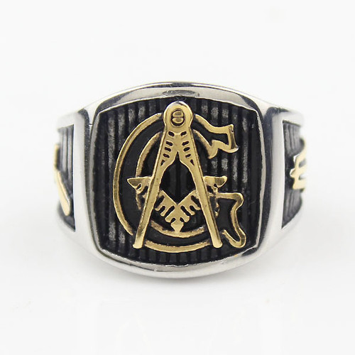 Mens Stainless Steel Master Mason Masonic Ring Antiqued