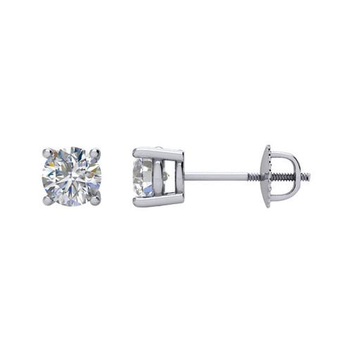 14K White Gold 4 Prong Screw Post & Backs 1/2CTTW Round Cut Diamond Stud Earrings