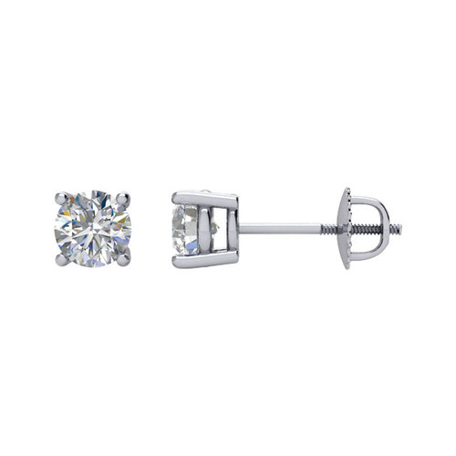 14K White Gold 4 Prong Screw Post & Backs 1CTTW Round Cut Diamond Stud Earrings