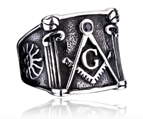 Mens Master Mason 316L Stainless Steel Ring - FREE SHIPPING